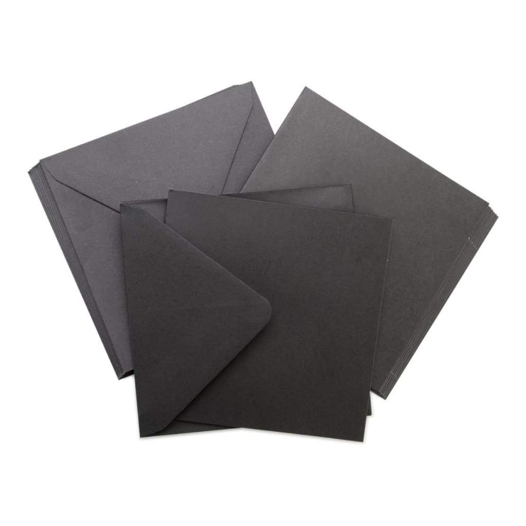Kaisercraft Square Cards with Envelopes 5.5inch X5.5inch 10 pack Black