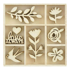 Kaisercraft Themed Mini Wooden Flourishes 40 pack Blooming