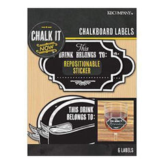 K&Company - Chalk It Now Chalkboard Wine Labels 6 Pack 1.75X2.75In.  & 2In. X3in.
