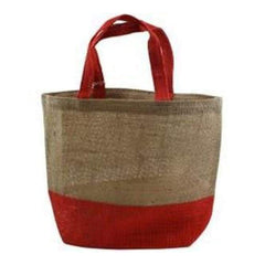 Kel-Toy - Burlap Bag 15Inch X12inch X5.5Inch  Natural And Red