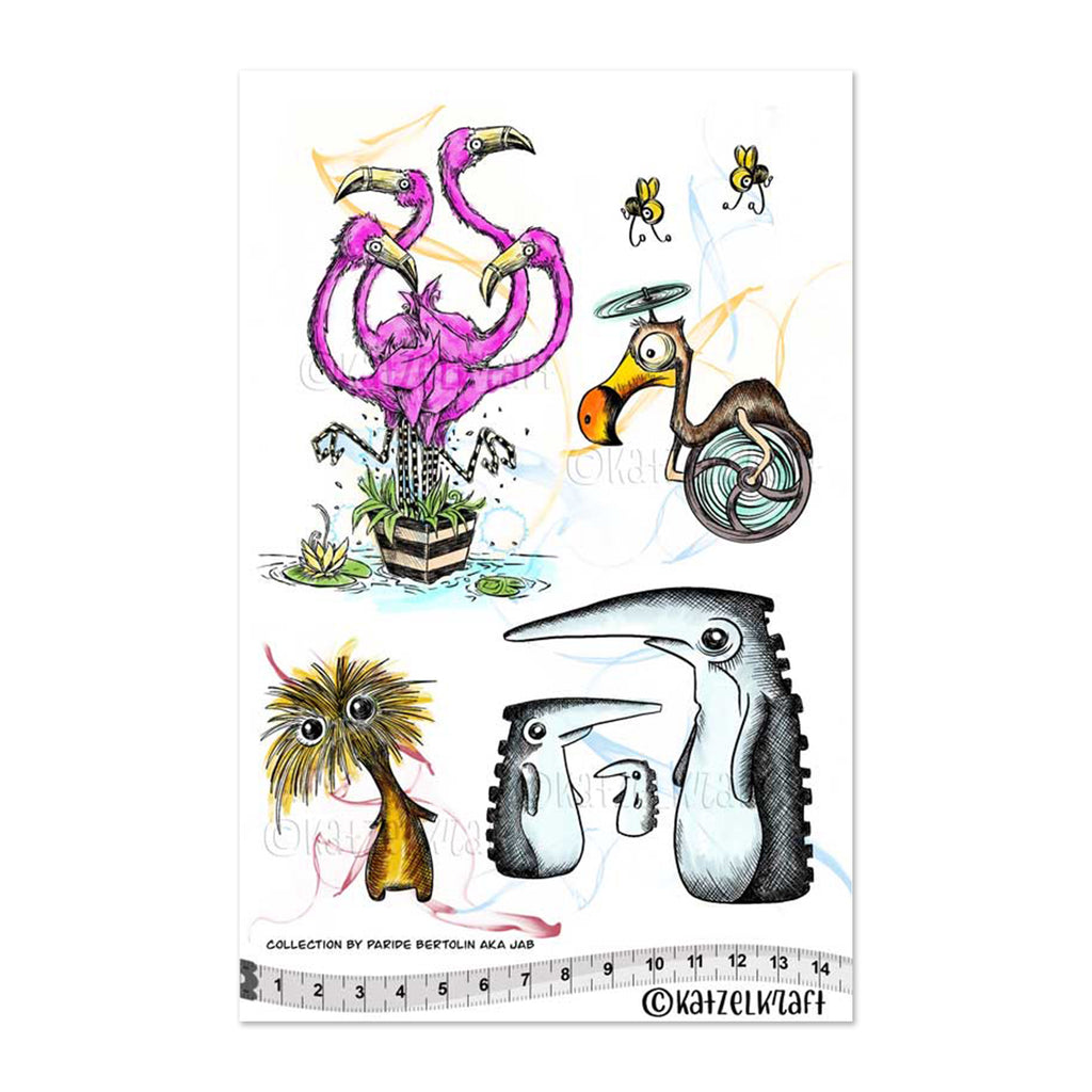 Katzelkraft Rubber Stamp Set - Flamingos and Friends
