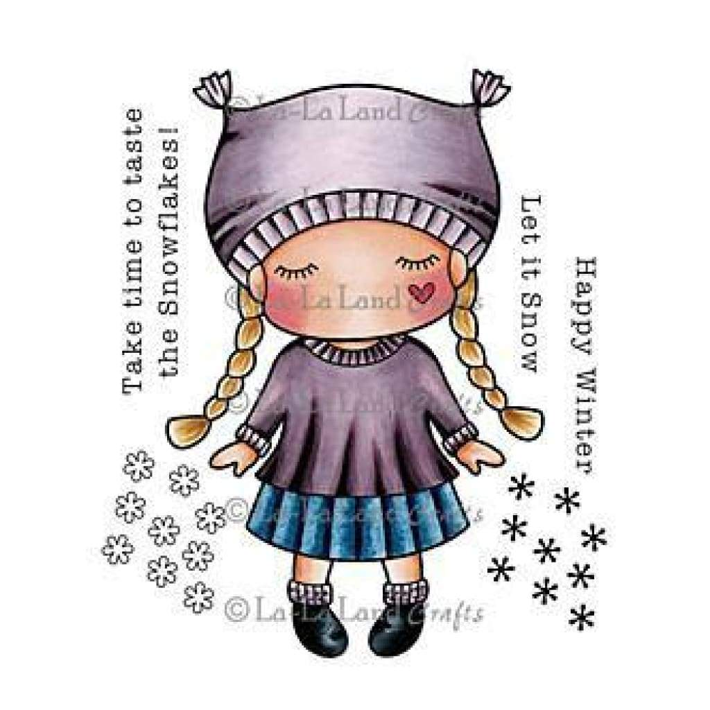 La-La Land Cling Mount Rubber Stamps 4In. X3in.  Paper Doll Marci -Winter