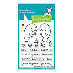 Lawn Fawn Clear Stamps 3 inch X2 inch Manatee-Rific