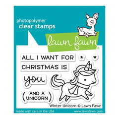 Lawn Fawn Clear Stamps 3 inch X2 inch Winter Unicorn