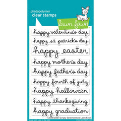 Lawn Fawn Clear Stamps 4 inch X6 inch Celebration Scripty Sentiments