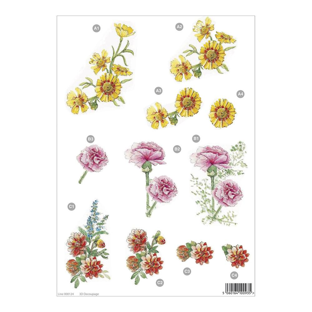 3D Die-Cut Decoupage Sheet 8.3X11.69in Floral: Yellow Flower, Carnation & Red