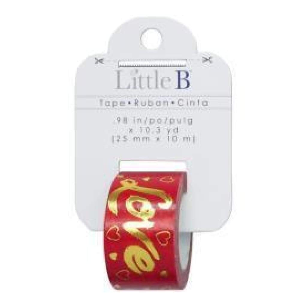 Little B Decorative Foil Tape 25Mmx10m - Gold Foil Red Love