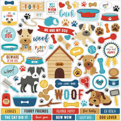 Echo Park - I Love My Dog Cardstock Stickers 12in.X12in. - Elements