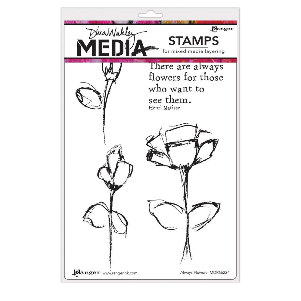 Dina Wakley Media Cling Stamps 6 inch X9 inch - Always Flowers
