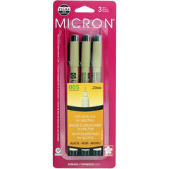 Pigma-Micron Pens - .20mm 3 pack  - Black