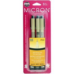 Pigma-Micron Pens - .35mm 3 pack  - Black
