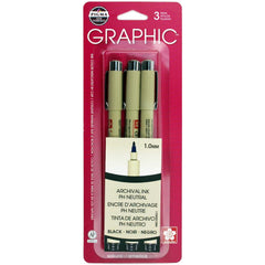 Pigma-Graphic Pens 1.0mm 3 pack - Black