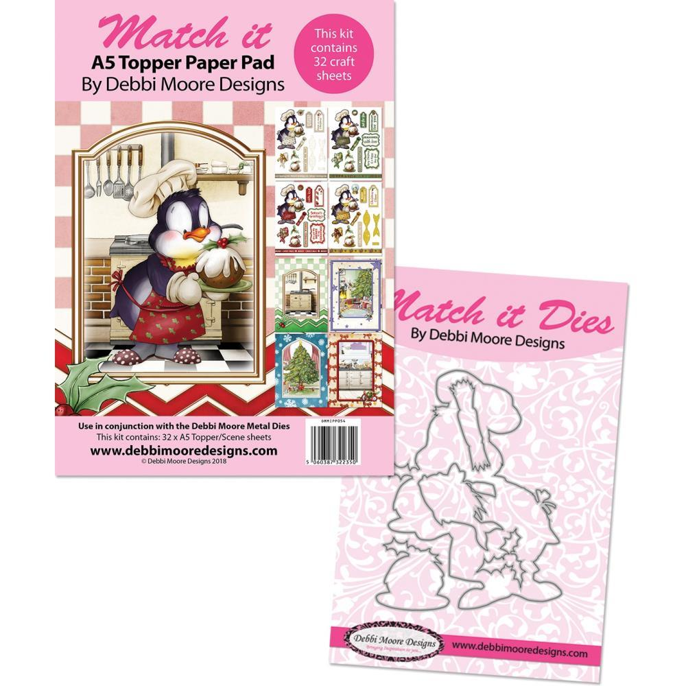 Debbi Moore Match It Party Penguins Metal Die & A5 Pad Christmas Pudding