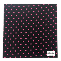 Michael Miller Memories - Ooh La Dot Black-Pink 12x12 fabric paper (pack of 5)