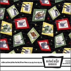 Michael Miller Memories - Pots n Pans Black 12x12 fabric paper (pack of 5)