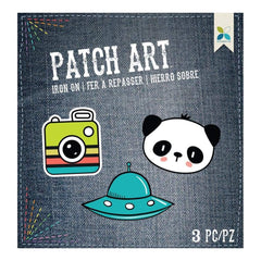 Momenta Iron On Embroidered Applique Camera, UFO & Panda 3 pack