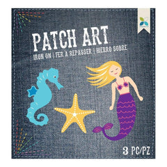 Momenta Iron On Embroidered Applique Mermaid, Starfish & Seahorse 3 pack