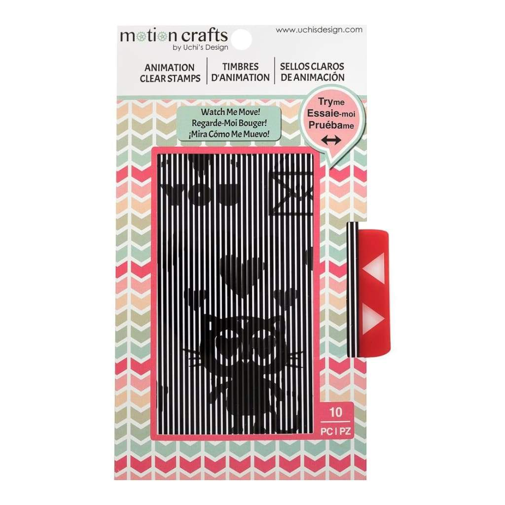 Motion Crafts Animation Clear Stamps & Grid Set Loving Cat