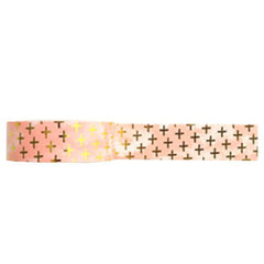Amazing Value Washi Tape - Metallic Pink Background with Gold Foil Crosses Design