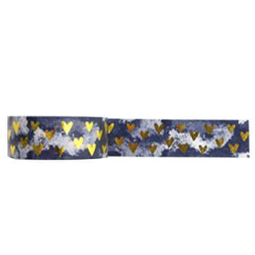 Amazing Value Washi Tape - Dark Marbel Background with Gold Foil Hearts Design