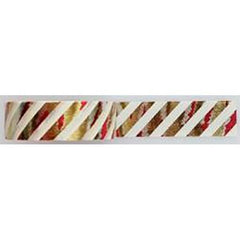 Amazing Value Washi Tape - White Stripe with Foil Gold Red & Silver Stripes - Size: 15mmx10m