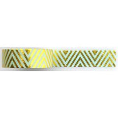 Amazing Value Washi Tape - Green Background with Gold Foil Zig Zag Design - Size: 15mmx10m