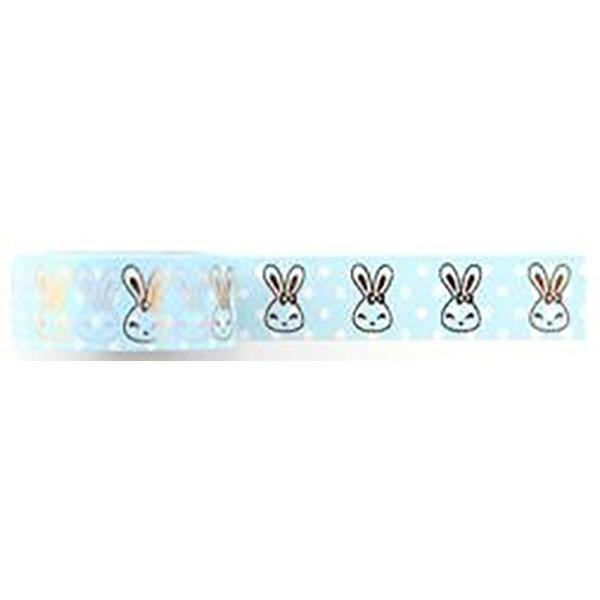 Amazing Value Washi Tape - Light Blue Background with Gold Foil Bunny Design - Size: 15mmx10m