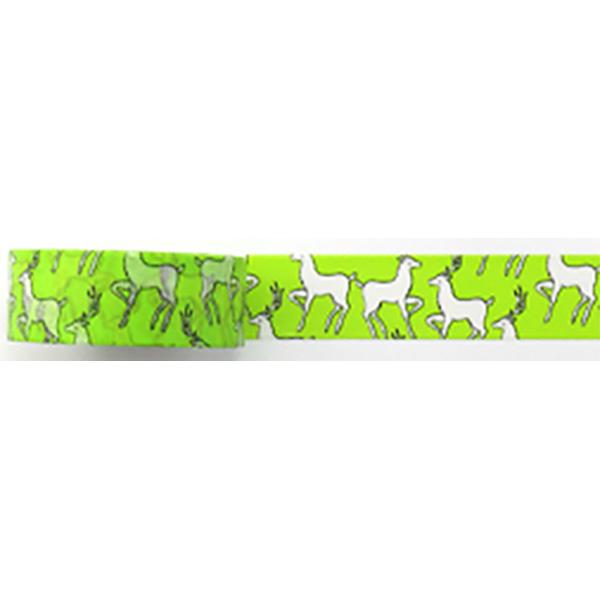 Amazing Value Washi Tape - Green Background with Deer Design - Size: 15mmx10m