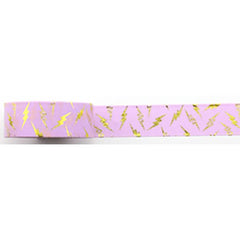 Amazing Value Washi Tape - Pink Background with Metallic Gold Lightening Bolts - Size: 15mmx10m