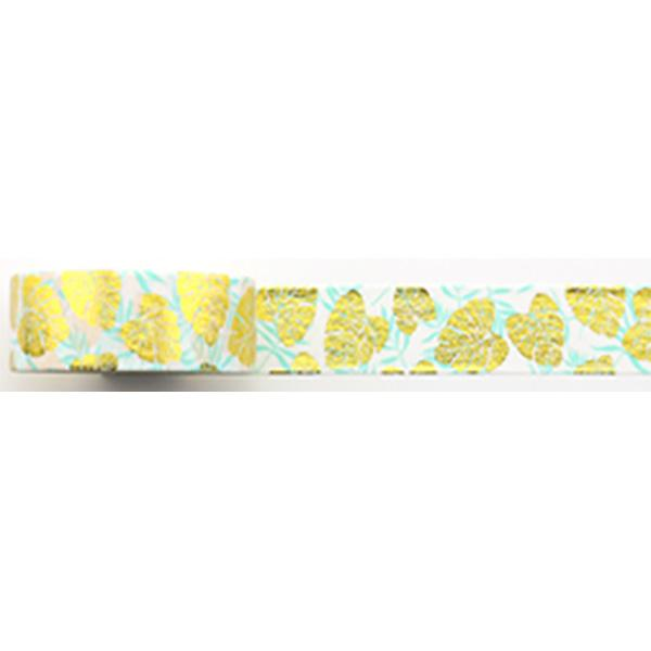 Amazing Value Washi Tape - White & Blue Background with Gold Foil Leaf Design - Size: 15mmx10m