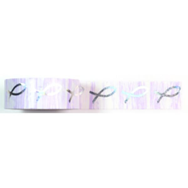 Amazing Value Washi Tape - White and Pink Background with Silver Foil Fish Design - Size: 15mmx10m