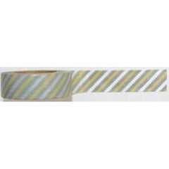 Amazing Value Washi Tape - Green and Grey Striped Design - Size: 15mmx10m 2pms-x