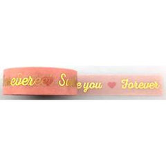 Amazing Value Washi Tape - Pink Background with Love Hearts and Gold Foil text I love You, I Miss You, Sweet messages - Size: 15mmx10m