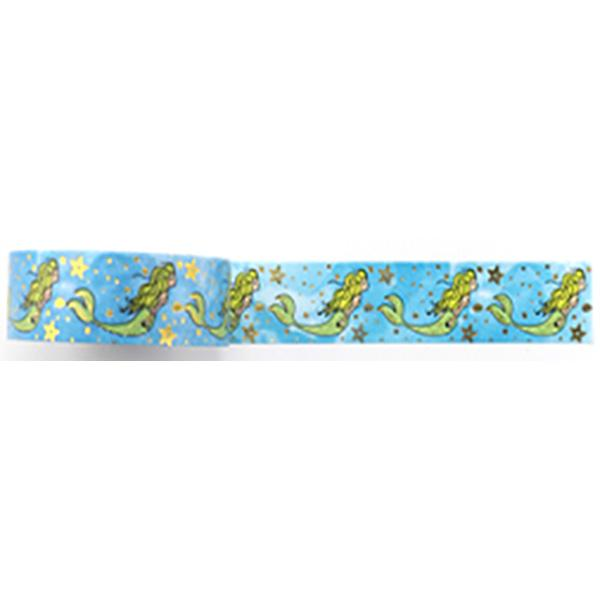 Amazing Value Washi Tape - Blue Background with Gold Foil Mermaid and Stars - Size: 15mmx10m