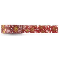 Amazing Value Washi Tape - Maroon Background with Gold Foil Snowflake Design - Size: 15mmx10m