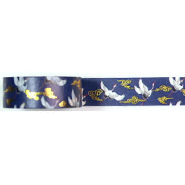 Amazing Value Washi Tape - Dark Background withFlying Swans and Gold Foil Design - Size: 15mmx10m