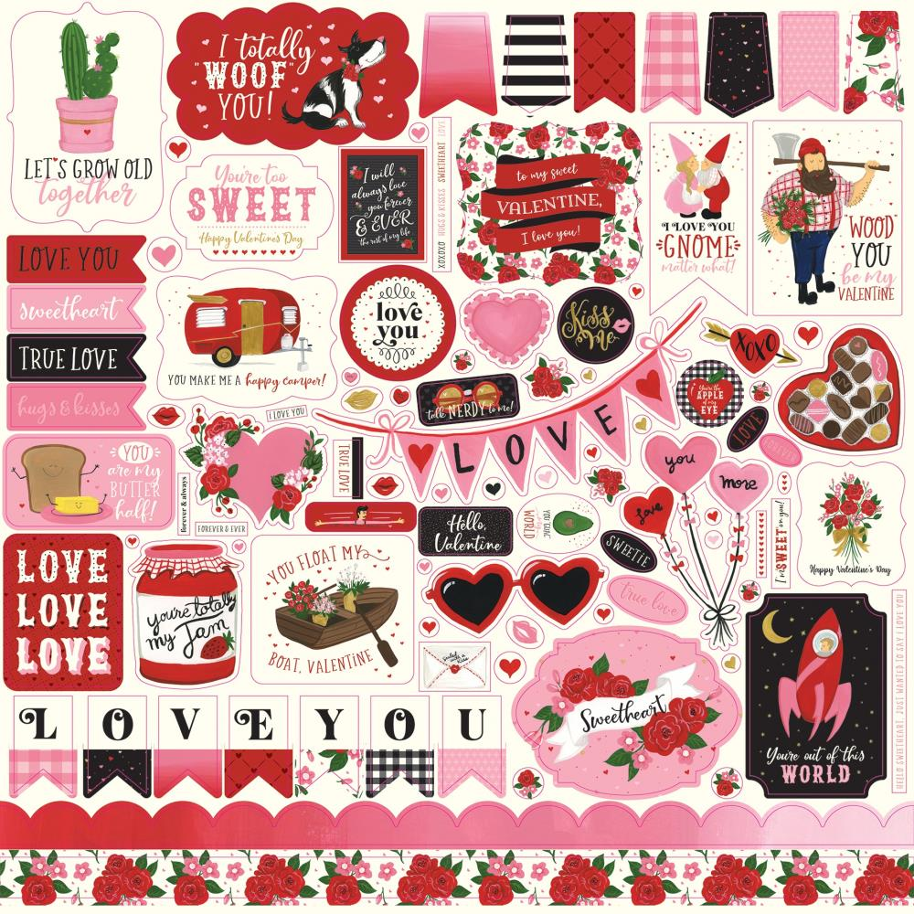 Echo Park - Be My Valentine Cardstock Stickers 12in.X12in. - Elements