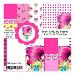 My Besties Single-Sided Paper 6X6 8 pack - Pink Trolls Troll-Ville