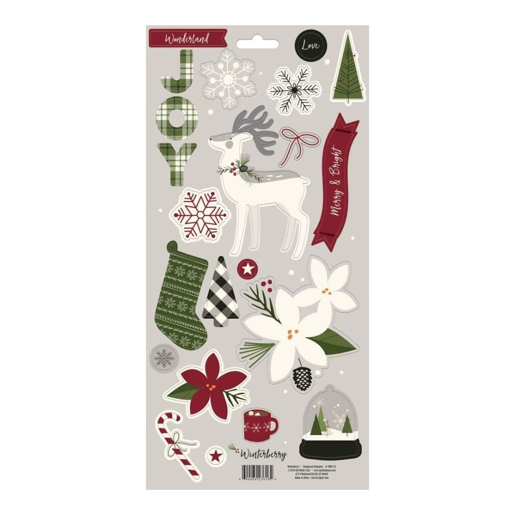 My Minds Eye - Winterberry Chipboard Elements 6 inch X12 inch 2 pack