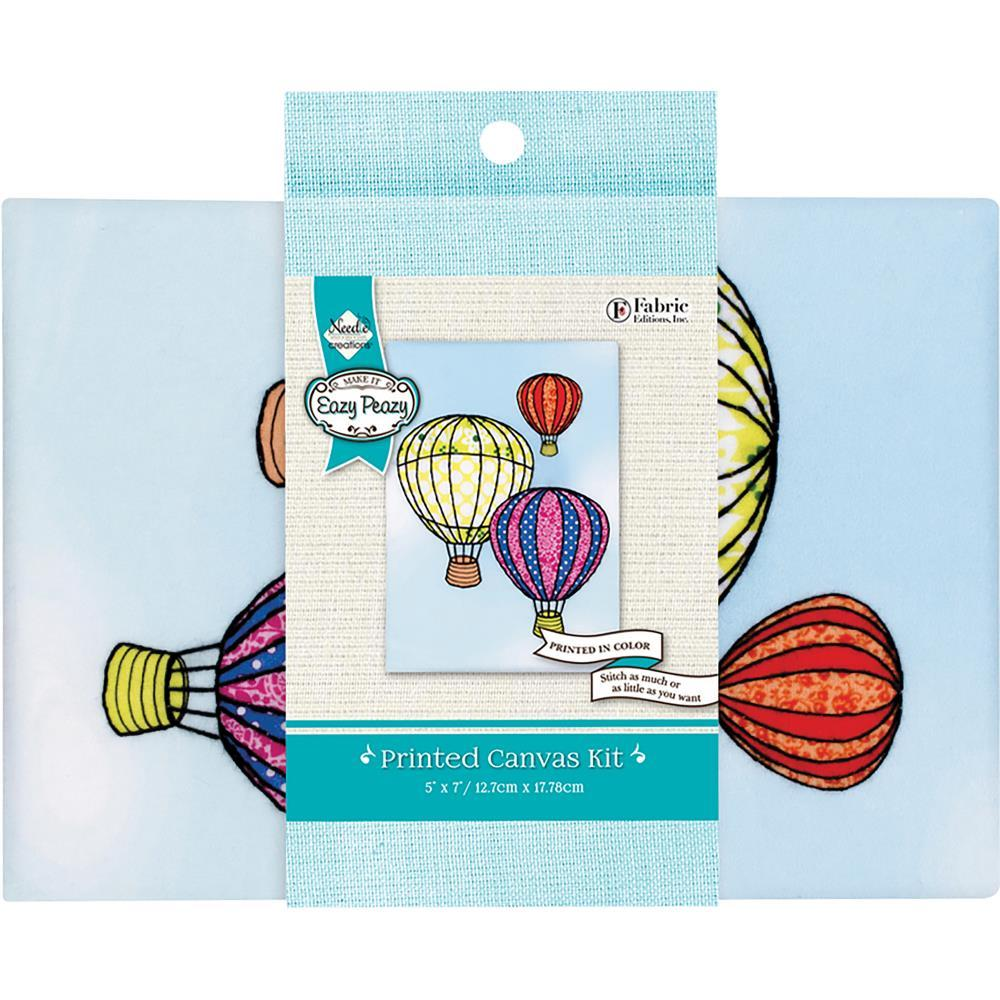 Needle Creations Easy Peasy Embroidery Kit 5inch X7inch Balloons Stamped On Canvas