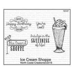 North Coast Creations Cling Rubber Stamp 5 Inch X6.75 Inch  Ice Cream Shoppe