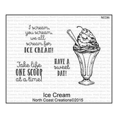 North Coast Creations Cling Rubber Stamp 5 Inch X6.75 Inch  Ice Cream
