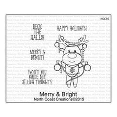 North Coast Creations Cling Rubber Stamps 5 Inch X6.75 Inch  Merry And Bright