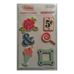 October Afternoon 5 & Dime Rubber Charms Adhesive 3D