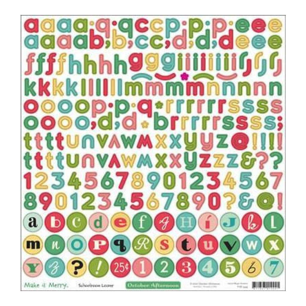 October Afternoon - Make It Merry - 12X12 Alpha Sticker Sheet