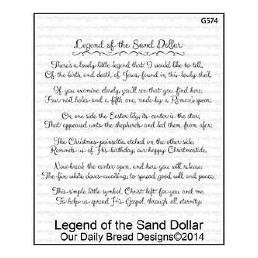 Our Daily Bread Cling Rubber Stamp 5Inch X6.75Inch  Legend Of The Sand Dollar