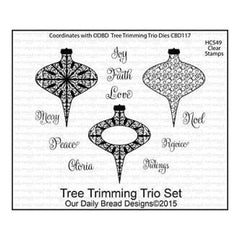 Our Daily Bread Cling Stamps 5 Inch X6.75 Inch  Tree Trimming Trio Set