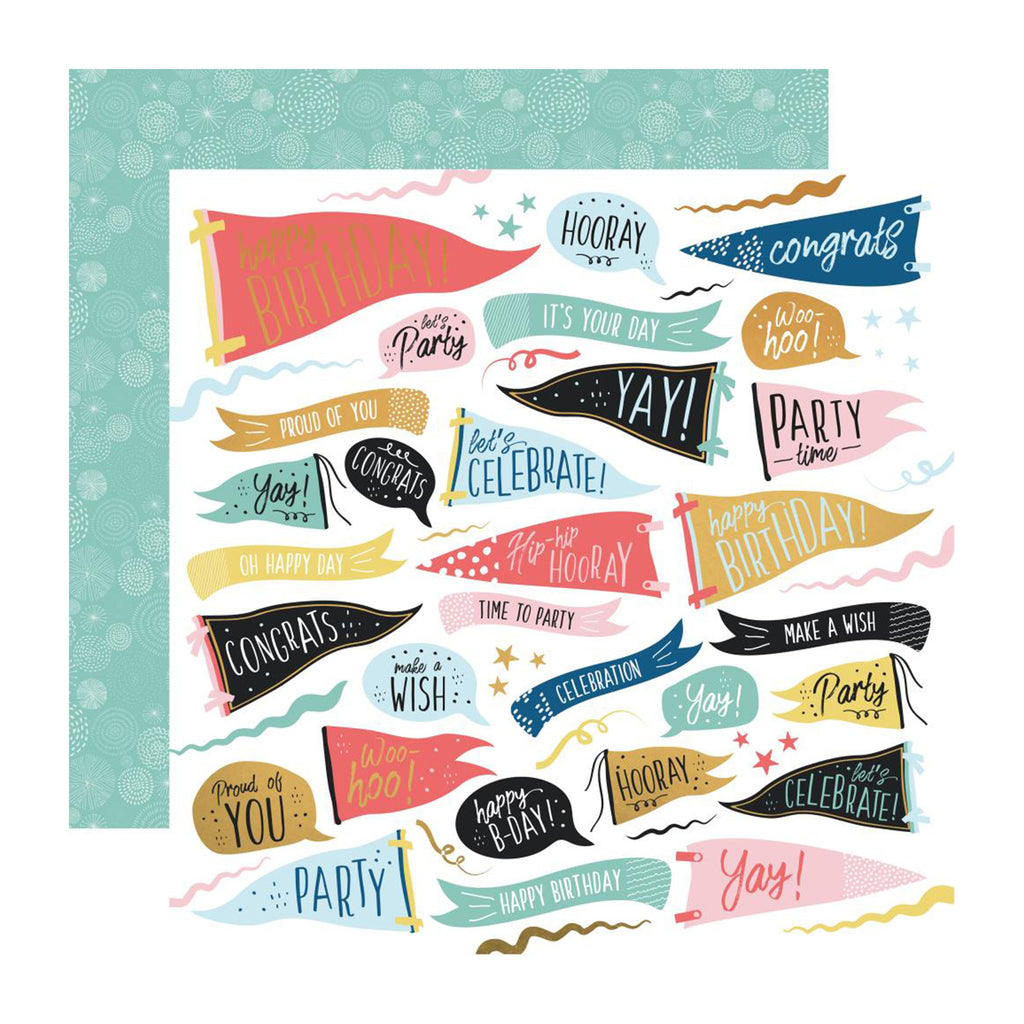 Kaisercraft - Oh Happy Day! Collection - Double-Sided Cardstock 12in X 12in - Time To Party