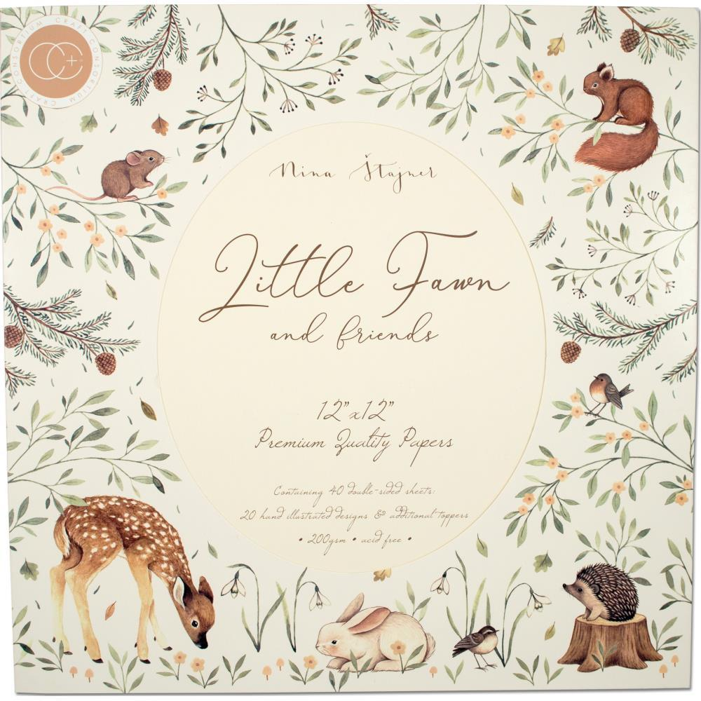 Craft Consortium Double-Sided Paper Pad 12inch X12inch 40 pack Little Fawn & Friends