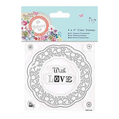 Papermania Bellissima Clear Stamps 4 Inch X4 Inch  Doily Frame